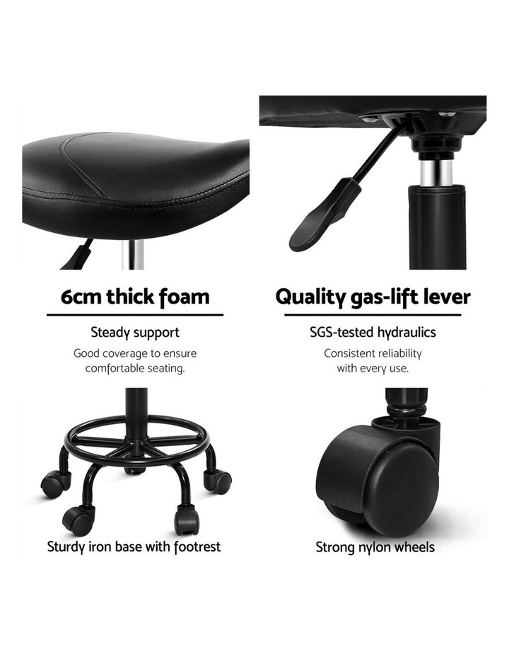 Salon Stool Black Swivel Barber SADDLE Hairdressing Bar Chairs Gas Lift image 3