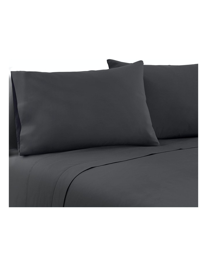 Double Charcoal 4pcs Bed Sheet Set Pillowcase Flat Sheet image 1