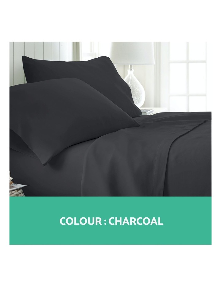 Double Charcoal 4pcs Bed Sheet Set Pillowcase Flat Sheet image 3
