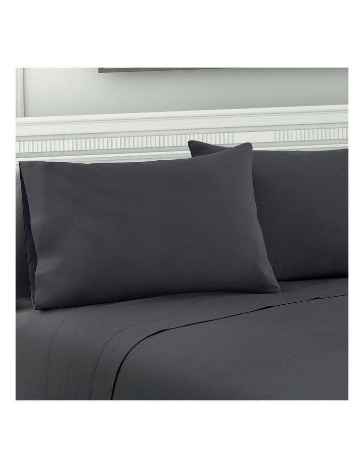 Double Charcoal 4pcs Bed Sheet Set Pillowcase Flat Sheet image 6