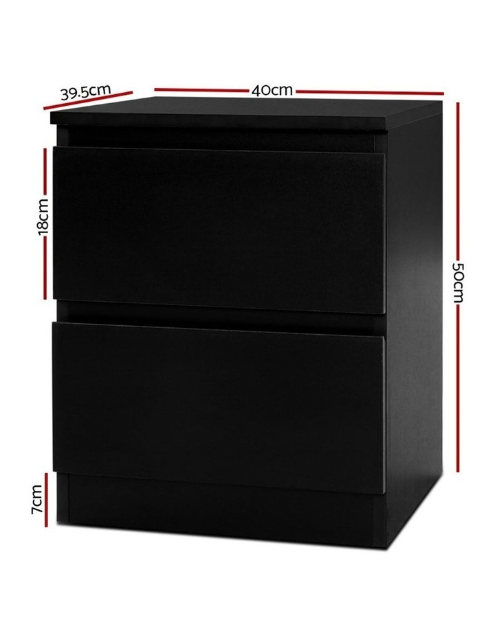 Bedside Tables Drawers Side Table Bedroom Furniture Nightstand Black Lamp image 2