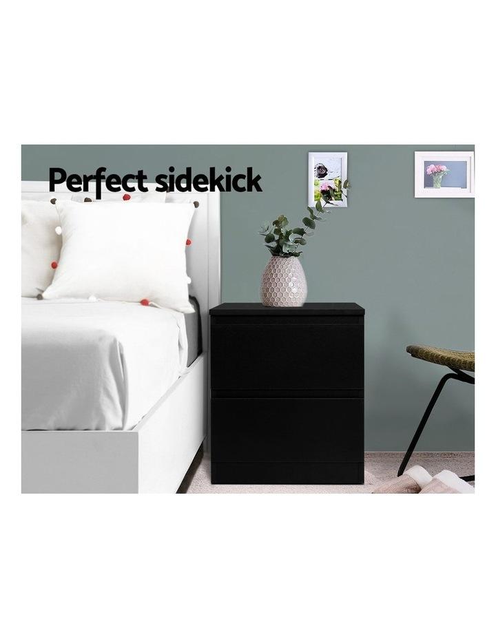 Bedside Tables Drawers Side Table Bedroom Furniture Nightstand Black Lamp image 3