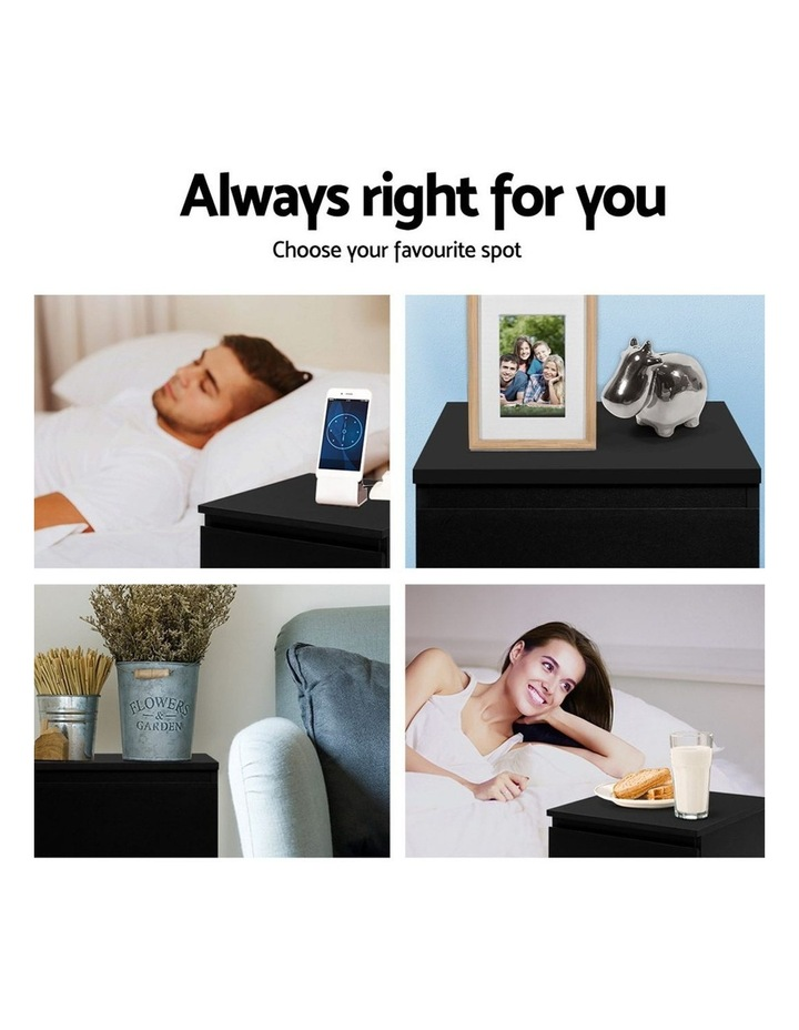 Bedside Tables Drawers Side Table Bedroom Furniture Nightstand Black Lamp image 6