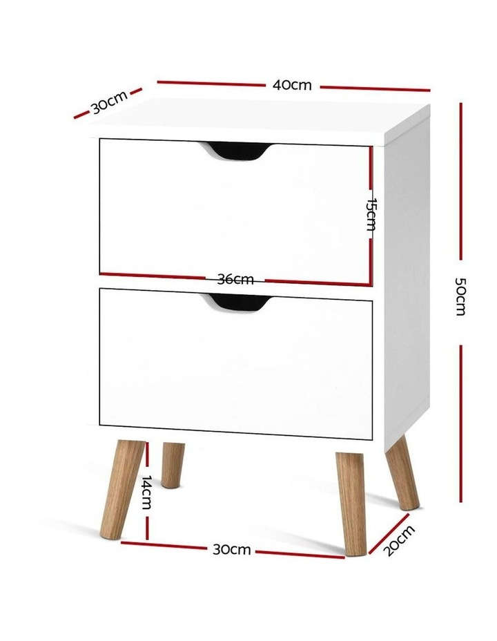 Bedside Tables Drawers Side Table Nightstand White Storage Cabinet Wood image 2