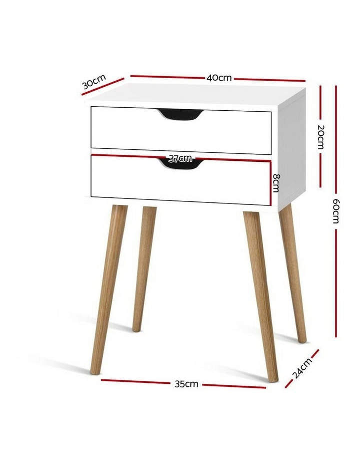Bedside Tables Drawers Side Table Nightstand Wood Storage Cabinet White image 2