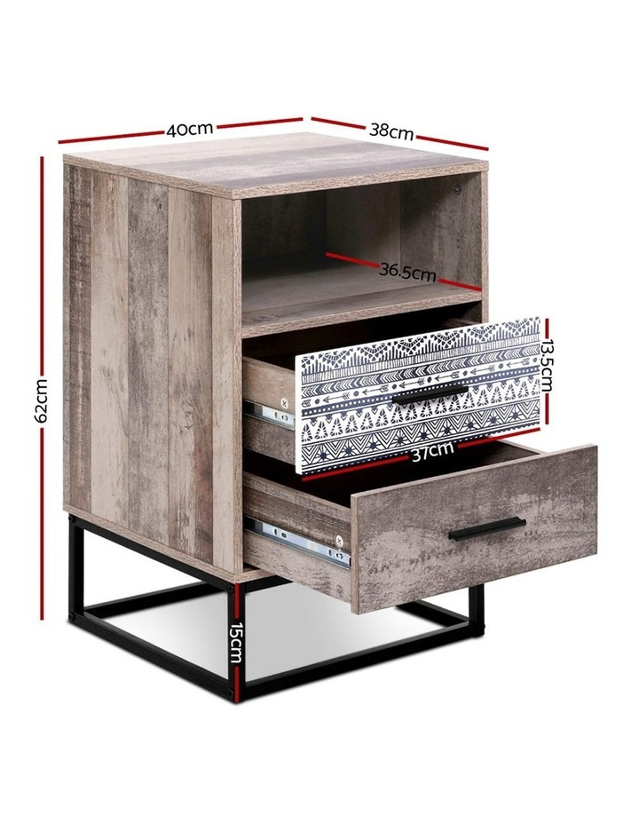 Bedside Tables Drawers Side Table Wood Nightstand Storage Cabinet Unit image 2