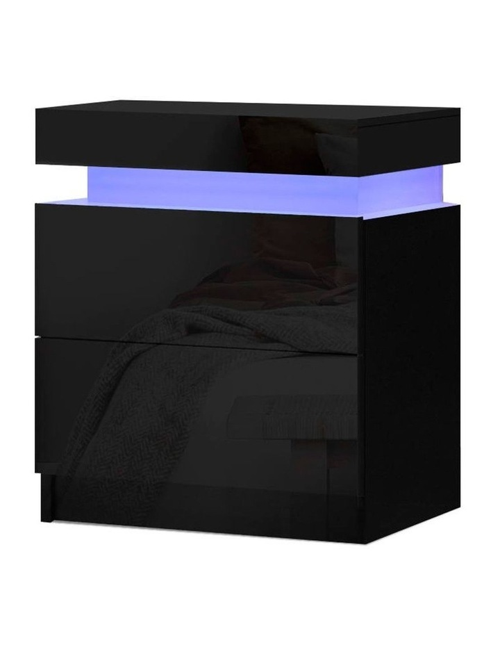 Bedside Tables Side Table Drawers RGB LED High Gloss Nightstand Black image 1