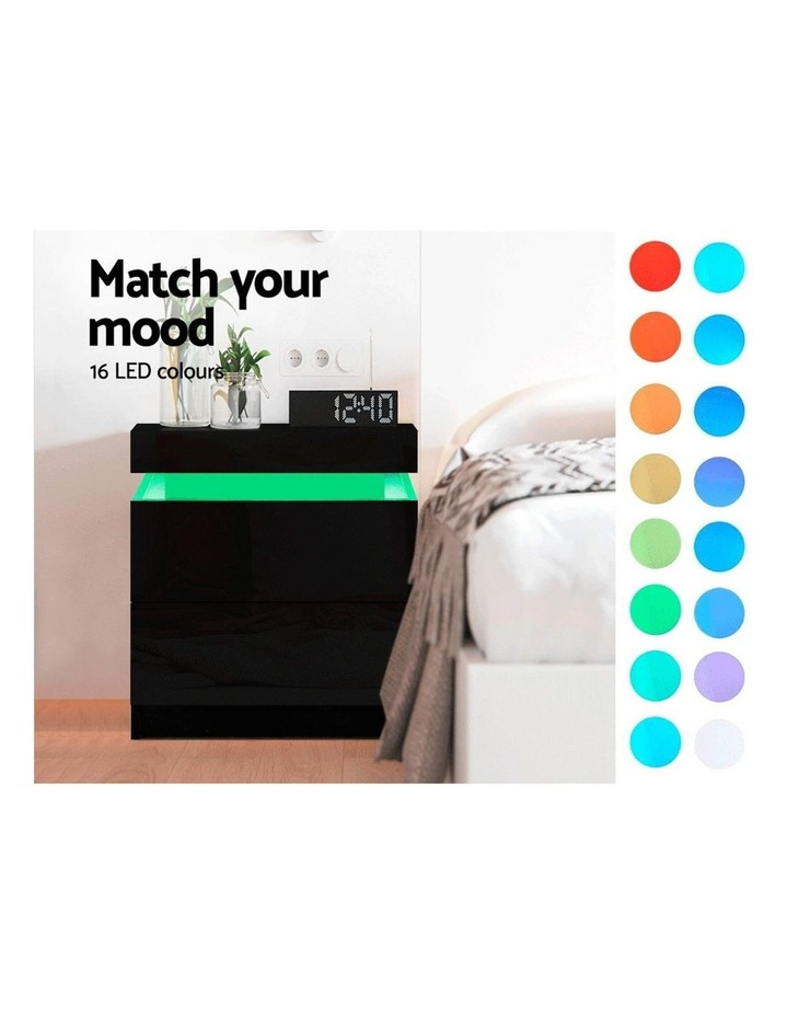 Bedside Tables Side Table Drawers RGB LED High Gloss Nightstand Black image 3