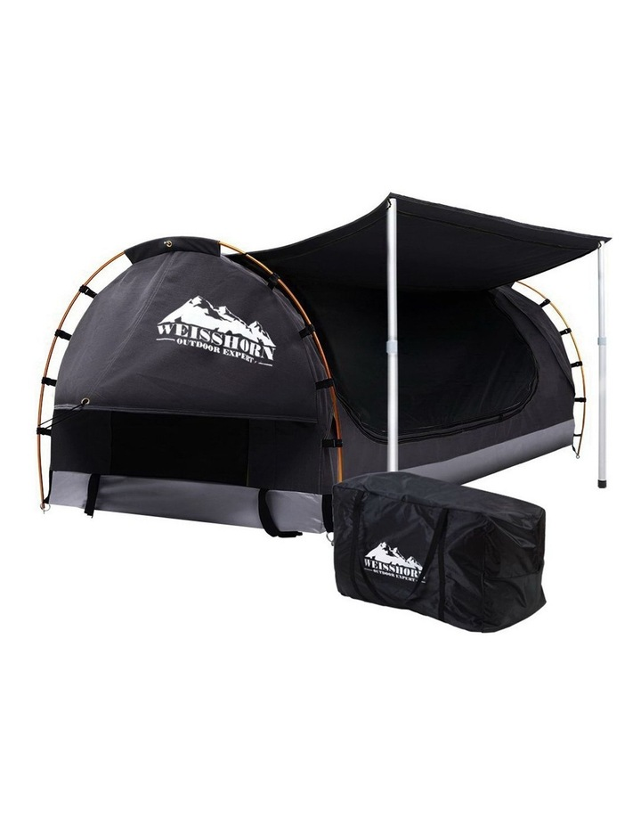 Double Swag Camping Swags Canvas Free Standing Dome Tent Dark Grey w/ 7CM Mattress image 1