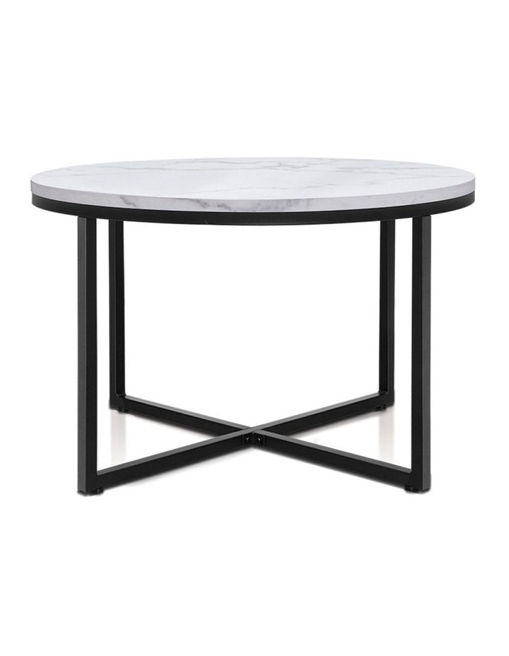 Coffee Table Marble Effect Side Tables Bedside Round Black Metal 70X70CM image 1