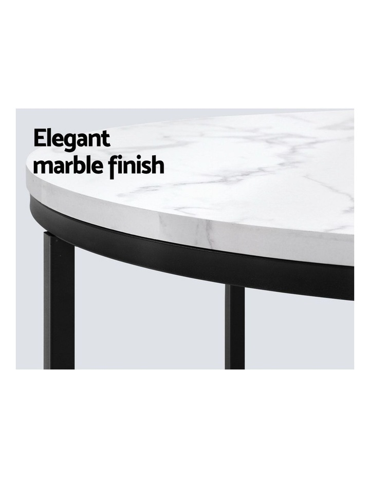Coffee Table Marble Effect Side Tables Bedside Round Black Metal 70X70CM image 3