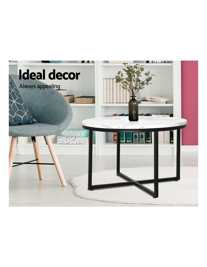 Coffee Table Marble Effect Side Tables Bedside Round Black Metal 70X70CM image 5