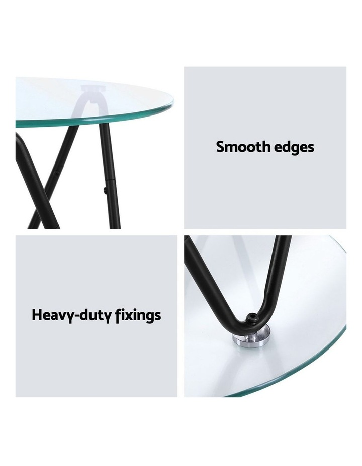 Coffee Table Glass End Side Tables High Gloss Display Modern Furniture 50X50CM image 3