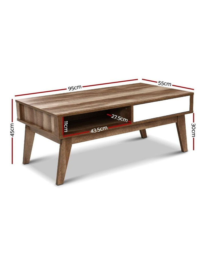 Coffee Table 2 Storage Drawers Open Shelf Scandinavian Wooden White image 2
