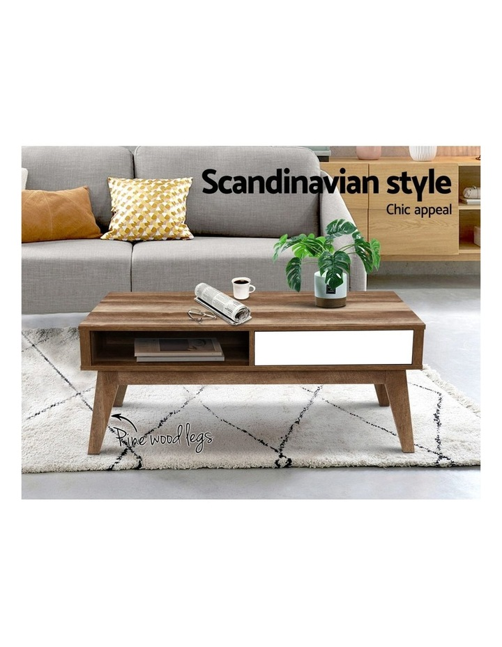 Coffee Table 2 Storage Drawers Open Shelf Scandinavian Wooden White image 3
