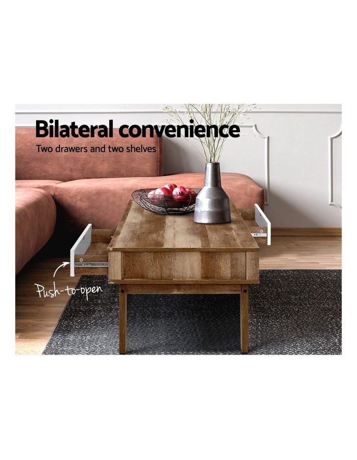 Coffee Table 2 Storage Drawers Open Shelf Scandinavian Wooden White image 4