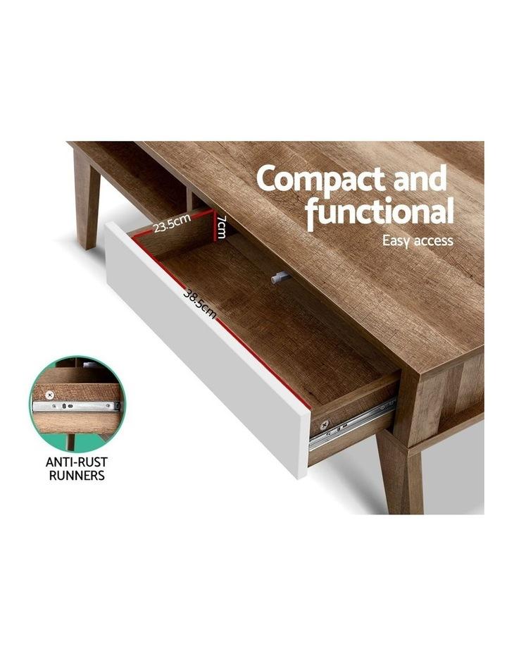 Coffee Table 2 Storage Drawers Open Shelf Scandinavian Wooden White image 5