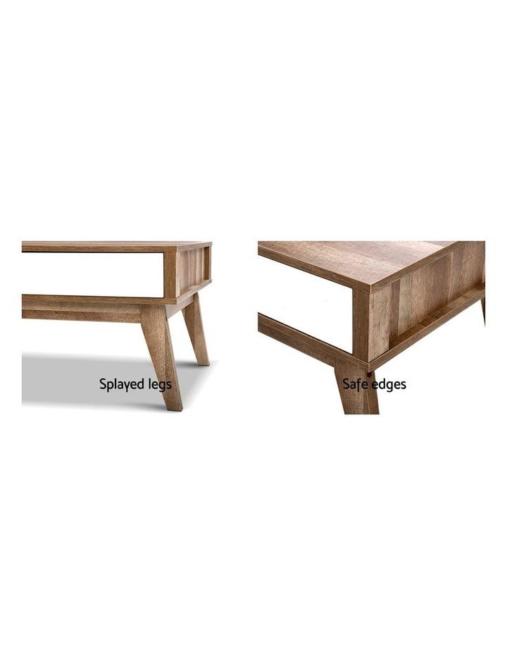 Coffee Table 2 Storage Drawers Open Shelf Scandinavian Wooden White image 6