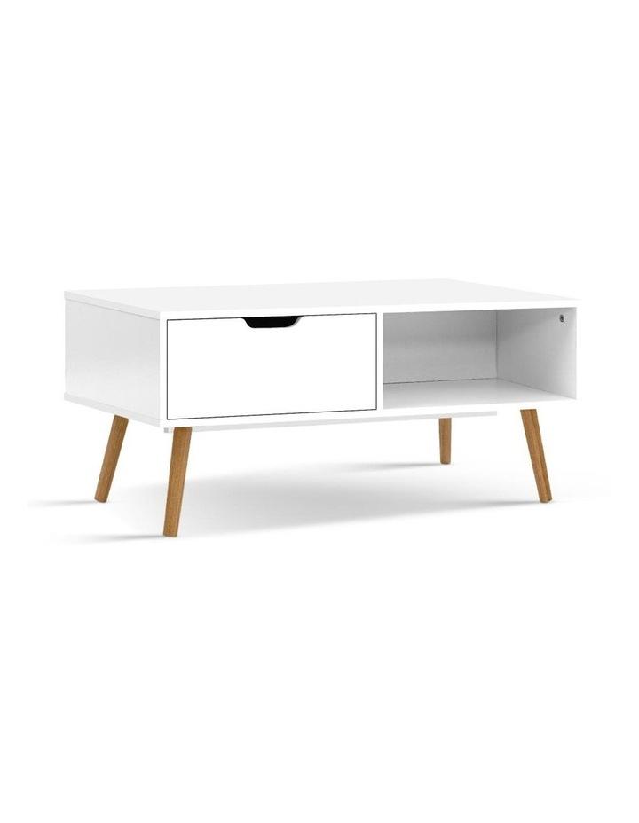 Coffee Table Storage Drawer Open Shelf Wooden Legs Scandinavian White image 1