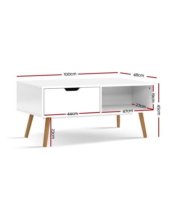 Coffee Table Storage Drawer Open Shelf Wooden Legs Scandinavian White image 2