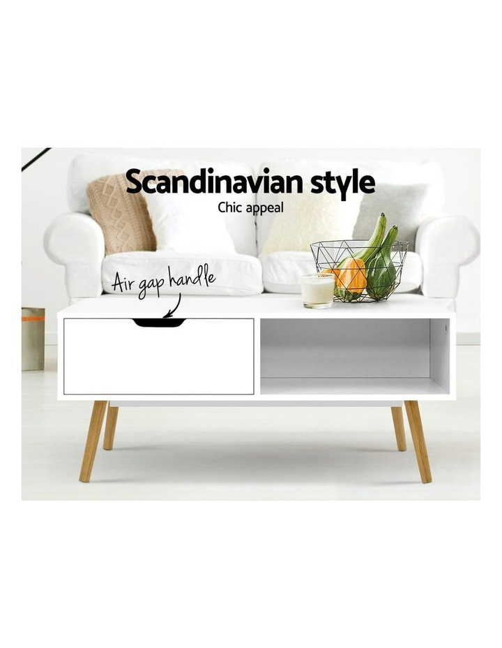 Coffee Table Storage Drawer Open Shelf Wooden Legs Scandinavian White image 3