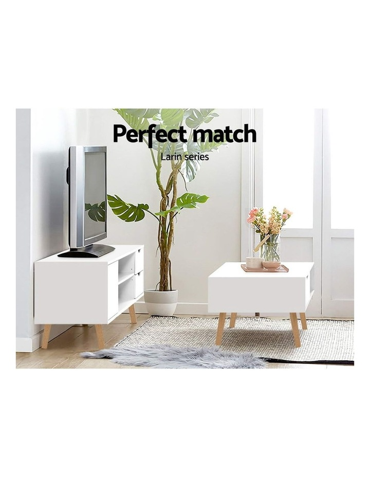 Coffee Table Storage Drawer Open Shelf Wooden Legs Scandinavian White image 5