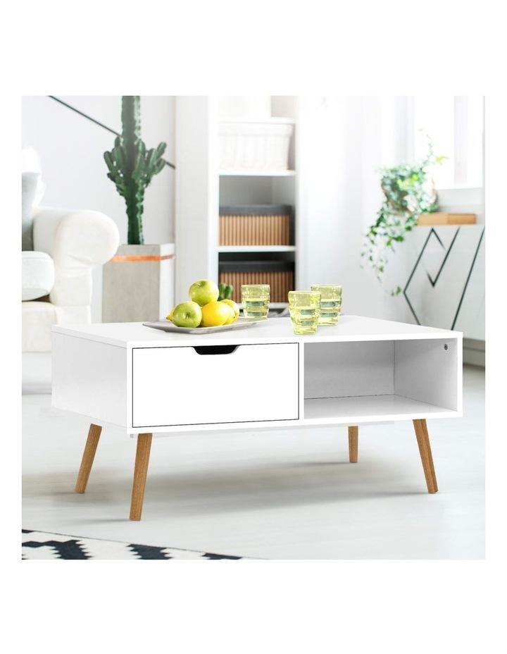 Coffee Table Storage Drawer Open Shelf Wooden Legs Scandinavian White image 6