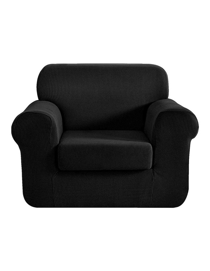 2-piece Sofa Cover Elastic Stretch Couch Covers Protector 1 Steater Black image 1