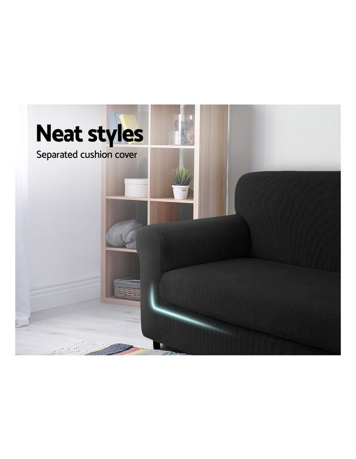 2-piece Sofa Cover Elastic Stretch Couch Covers Protector 1 Steater Black image 3