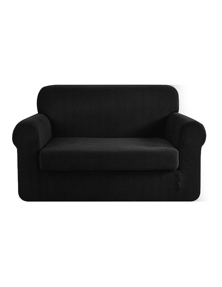 2-piece Sofa Cover Elastic Stretch Couch Covers Protector 2 Steater Black image 1