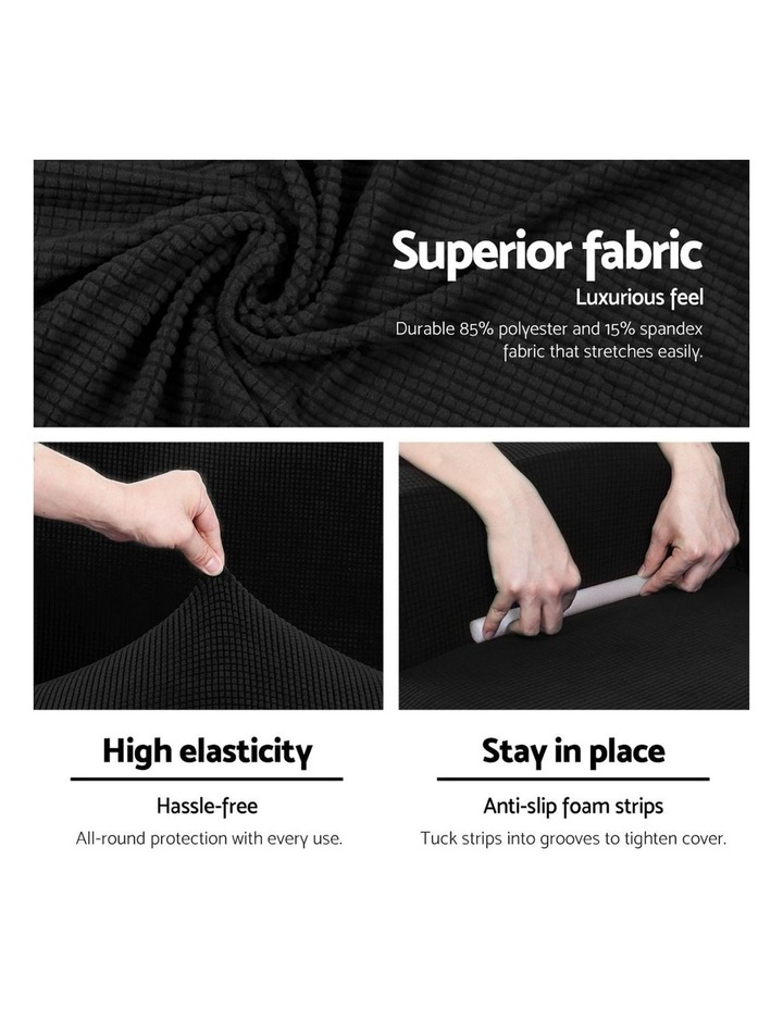 2-piece Sofa Cover Elastic Stretch Couch Covers Protector 2 Steater Black image 4