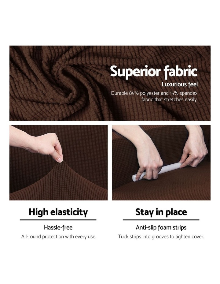 2-piece Sofa Cover Elastic Stretch Couch Covers Protector 2 Steater Coffee image 4