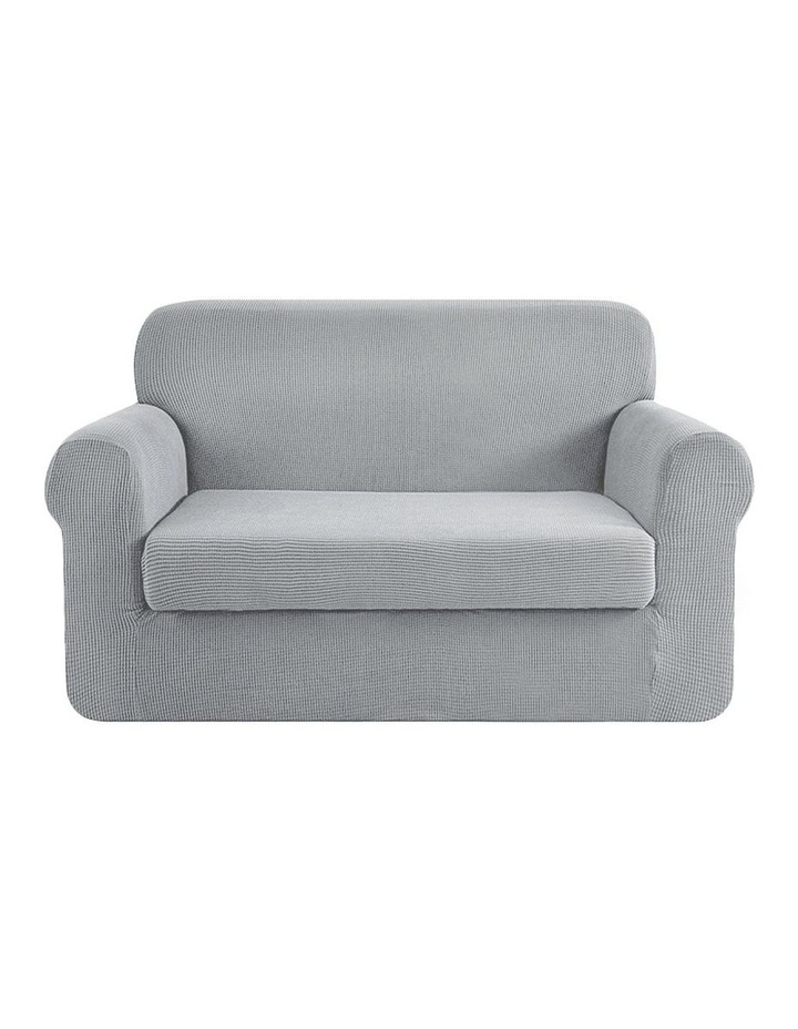 2-piece Sofa Cover Elastic Stretch Couch Covers Protector 2 Steater Grey image 1
