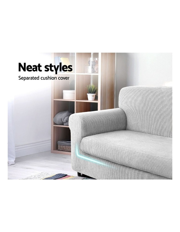 2-piece Sofa Cover Elastic Stretch Couch Covers Protector 2 Steater Grey image 3