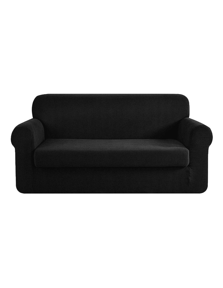 2-piece Sofa Cover Elastic Stretch Couch Covers Protector 3 Steater Black image 1