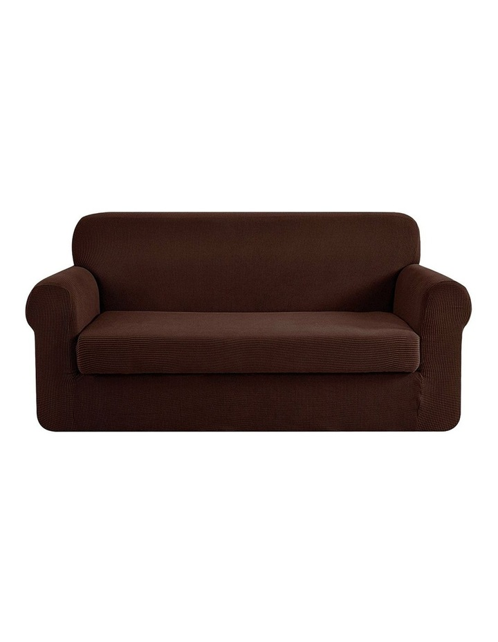 2-piece Sofa Cover Elastic Stretch Couch Covers Protector 3 Steater Coffee image 1