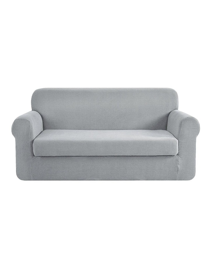 2-piece Sofa Cover Elastic Stretch Couch Covers Protector 3 Steater Grey image 1