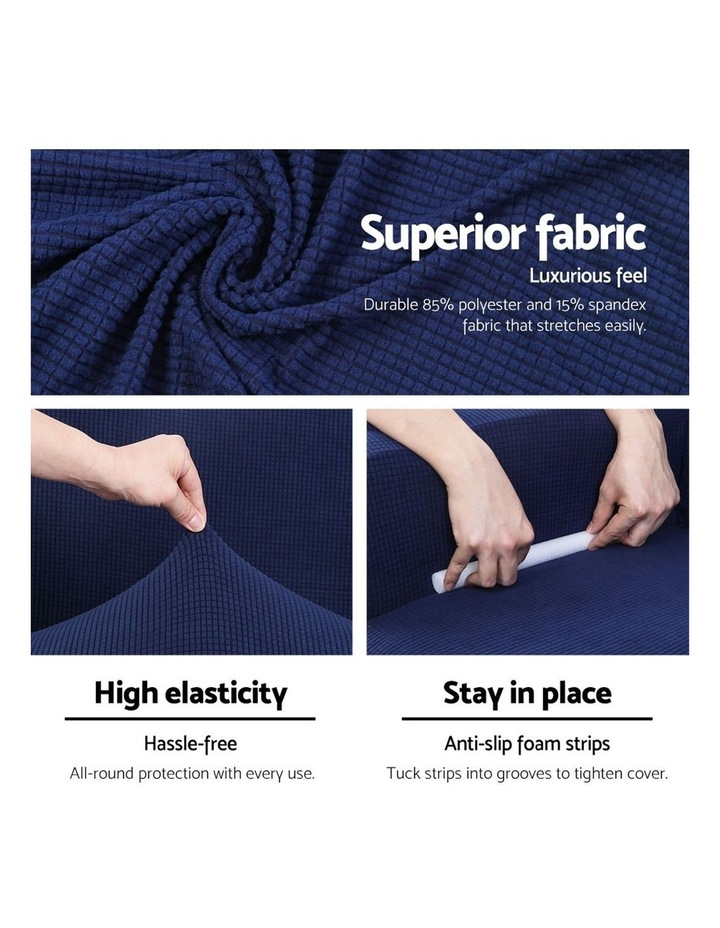 2-piece Sofa Cover Elastic Stretch Couch Covers Protector 3 Steater Navy image 4