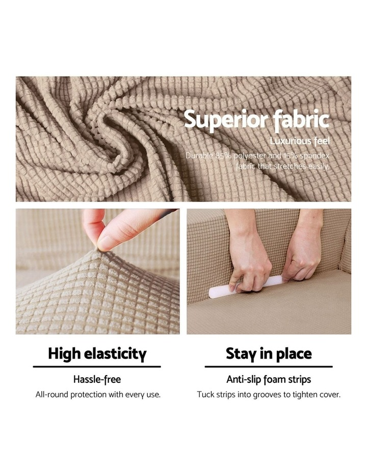2-piece Sofa Cover Elastic Stretch Couch Covers Protector 3 Steater Sand image 4