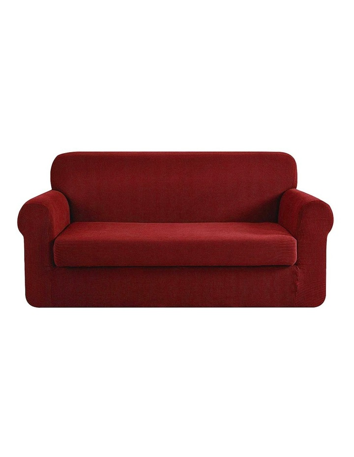 2-piece Sofa Cover Elastic Stretch Couch Covers Protector 3 Steater Burgundy image 1