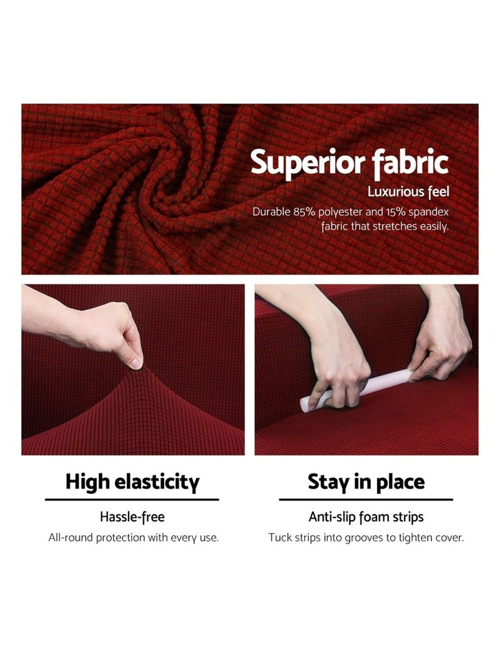 2-piece Sofa Cover Elastic Stretch Couch Covers Protector 3 Steater Burgundy image 4
