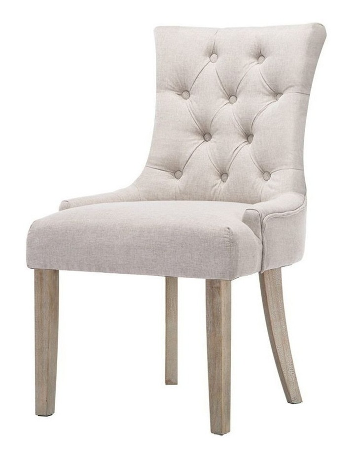 Dining Chair CAYES French Provincial Wooden Fabric Retro Cafe Chiars Beige image 1