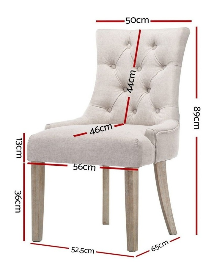 Dining Chair CAYES French Provincial Wooden Fabric Retro Cafe Chiars Beige image 2