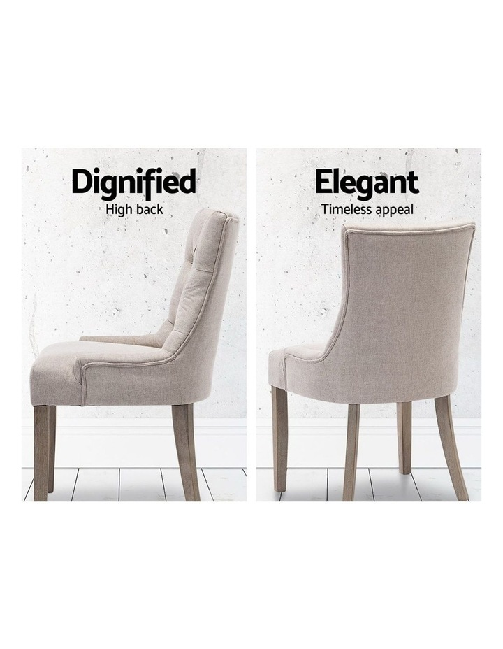 Dining Chair CAYES French Provincial Wooden Fabric Retro Cafe Chiars Beige image 4