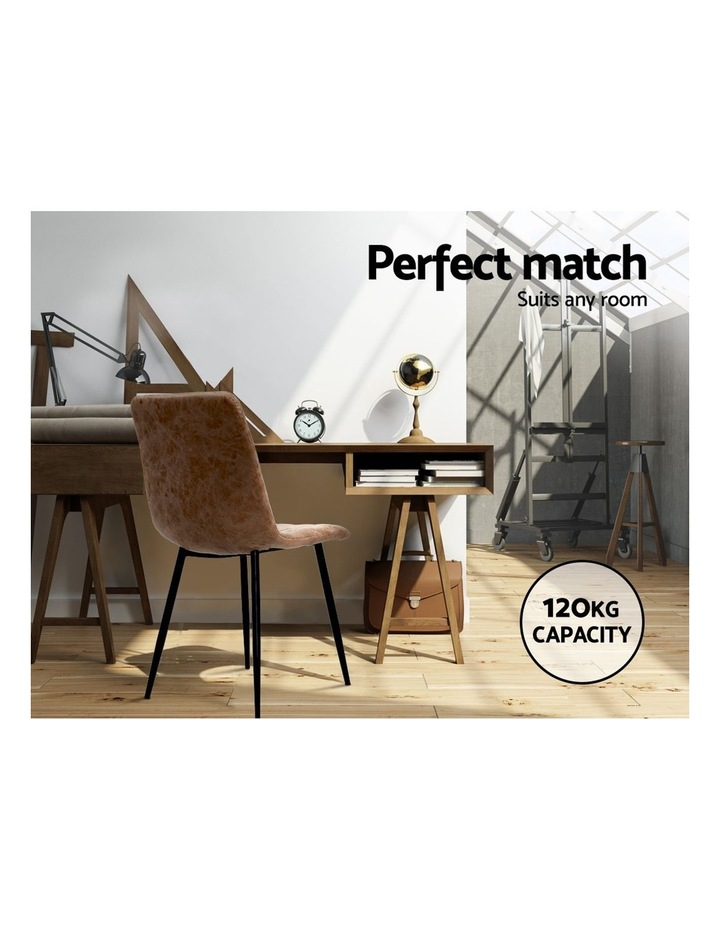 Dining Chairs Replica Kitchen Chair PU Leather Padded Retro Iron Legs x2 image 5