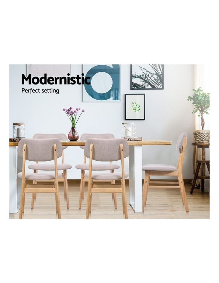 Dining Chairs Retro Replica Kitchen Cafe Wood Chair Fabric Pad Beige x2 image 5