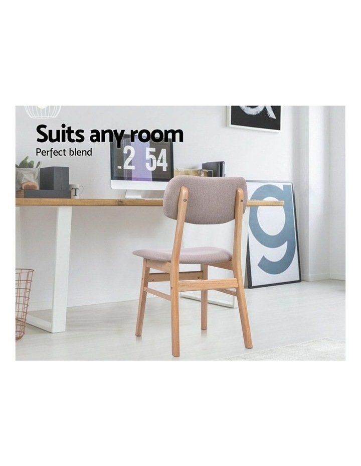 Dining Chairs Retro Replica Kitchen Cafe Wood Chair Fabric Pad Beige x2 image 6