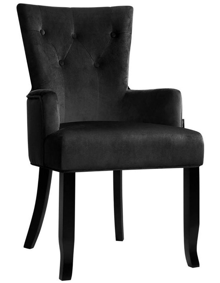 Dining Chairs French Provincial Chair Velvet Fabric Timber Retro Black image 1