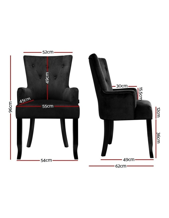 Dining Chairs French Provincial Chair Velvet Fabric Timber Retro Black image 2