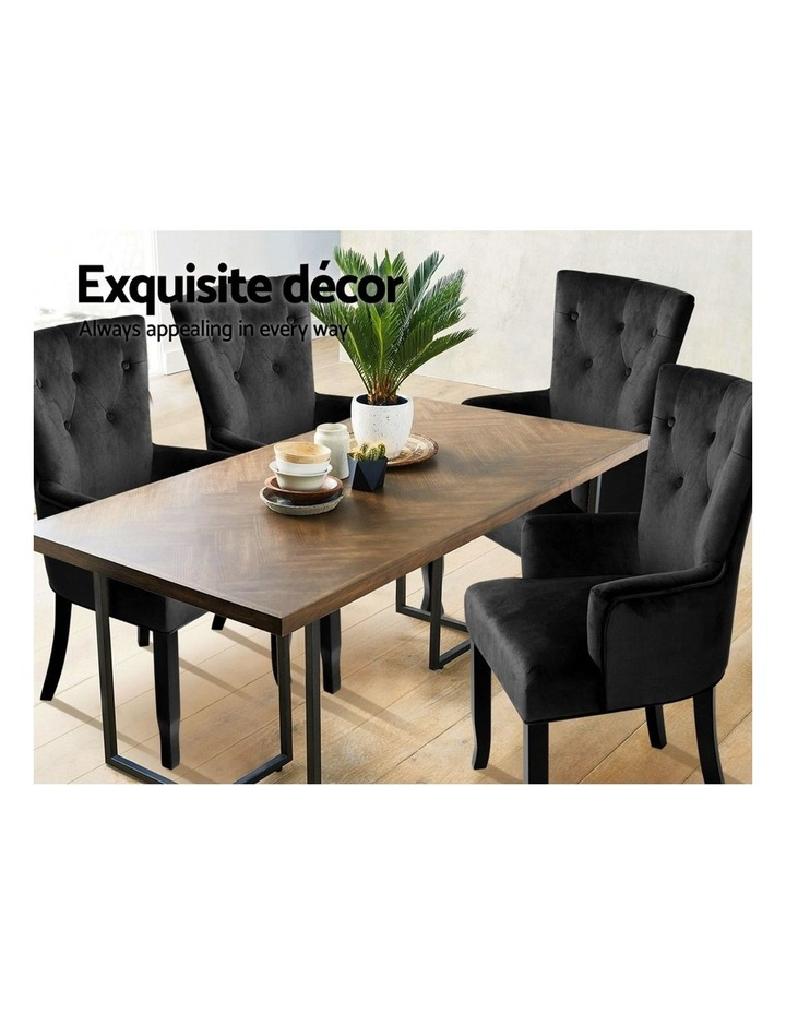 Dining Chairs French Provincial Chair Velvet Fabric Timber Retro Black image 4